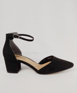 Andrea® Black Wide Width Heels with Ankle Strap