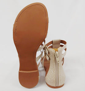 Andrea® Flat Bone Colored Sandals