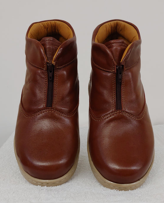 Brown Zip-Up Therapeutic Bootie
