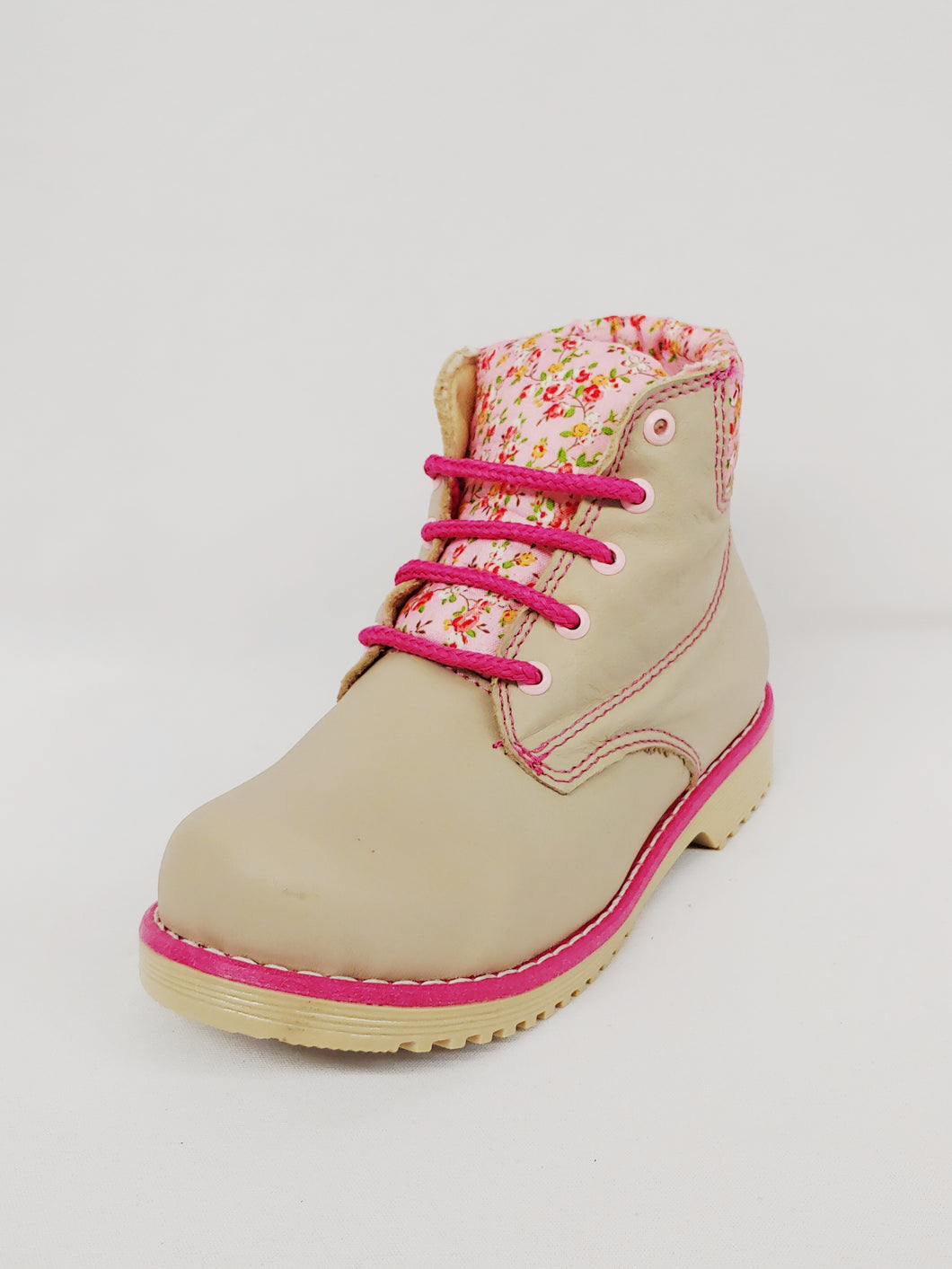 Cappuccino Colored Ankle Boot with Pink Flowered Design