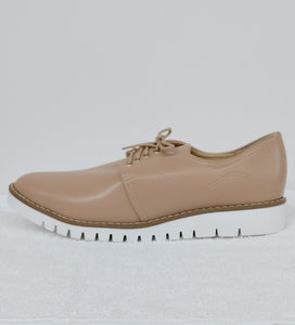 Womens  Beige Lace Up Oxford Shoe