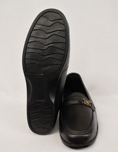 Ailin Black Slip-On Comfort Shoe with Accent Metal Flower Design