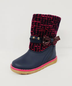Navy Blue and Pink Girls Boot