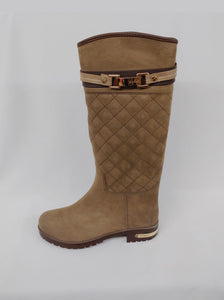 Womens Beige Water Resistant Rain Boot