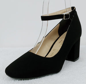 Black Block Heels with Ankle Strap