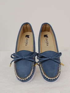 Blue Loafers with Accent Bow
