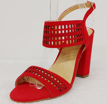 Flaming Red Cut-out Block Heels