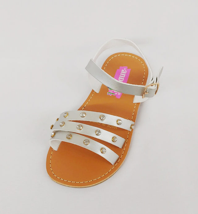 Andrea® Silver Sandals with Buckle Strap