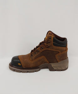 Brown with Black Lace-Up Steel Toe Cap Ankle Boot