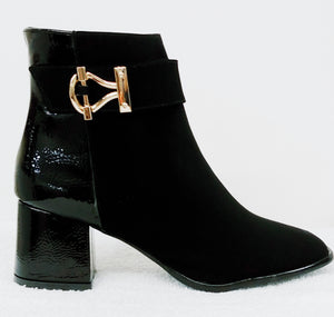 Black Buck Bootie with Wrinkled Patent Leather