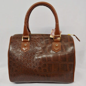 Brown Leather Crocodile Detailed Satchel