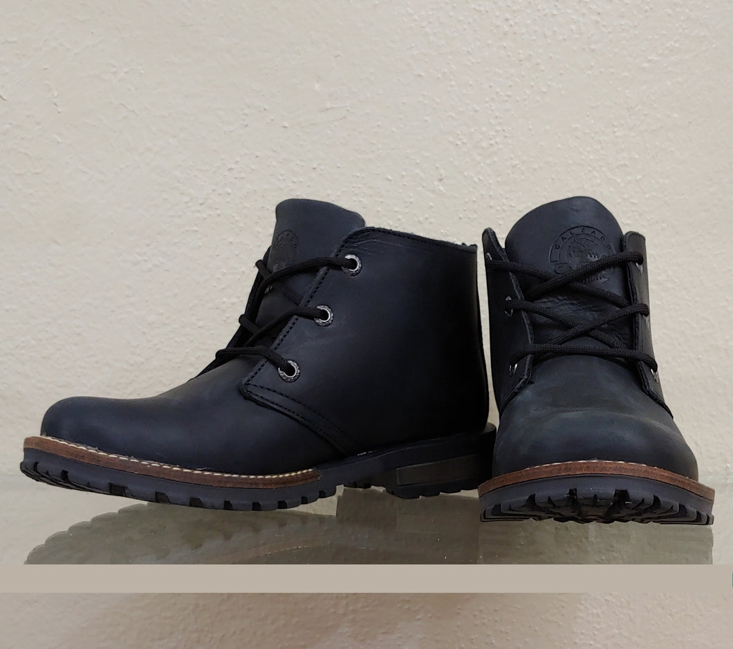 Mens Rustic Black Ankle Boot