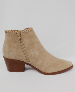 Distressed Oatmeal Ankle Bootie