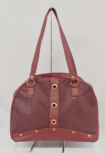 Keisha Satchel in Burgandy with Accent Snake Print