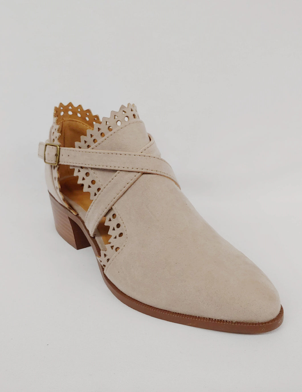Taupe Perforated Bootie