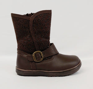 Andrea® Toddler Brown Boot with Heart Design and Ankle Buckle