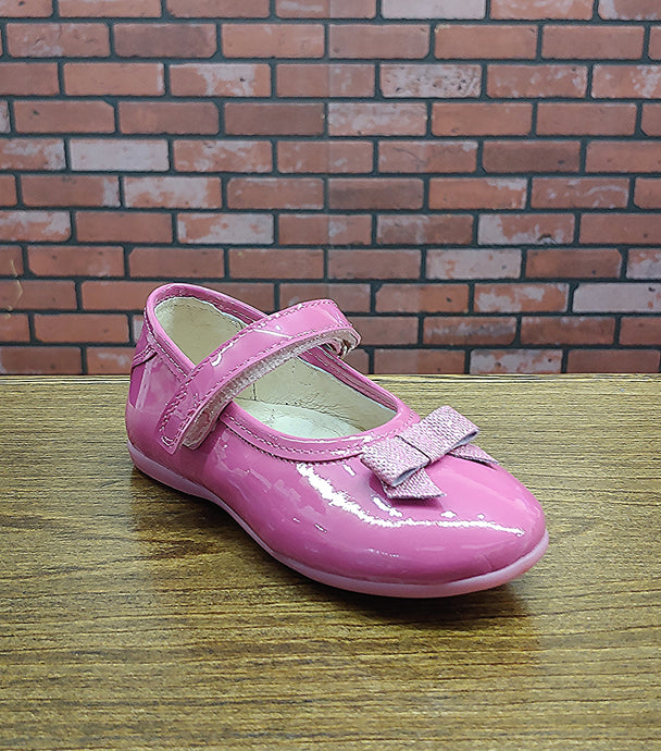 Dogi® Girls Raspberry Pink Patent Leather Flats with Glittered Bow