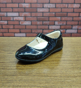 Dogi® Girls Black Patent Leather Flats with Forefoot Strap
