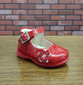 Dogi® Girls Patent Leather Red Shoe with Accent Flower