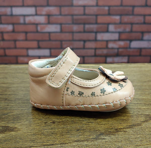 Dogi® Girls Tan Shoe with Accent Flowers