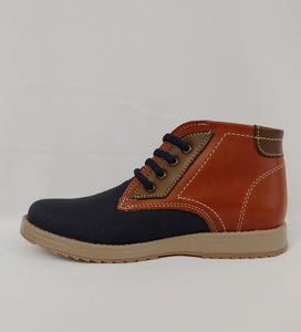 Andrea® Ferrato Boys Navy Blue and Brown Ankle Boot
