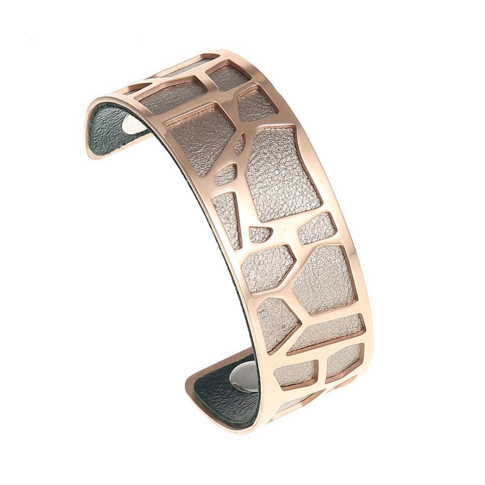 Vivian reversible leather bracelet in Rose gold finsh
