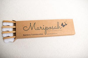 Bamboo toothbrushes. Sustainable, Natural, Biodegradable, Ecofriendly, Organic, Vegan-Mariposah