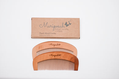 Peach Wood Combs 2pk - Sustainable, Natural, Durable & Biodegradable - Mariposah