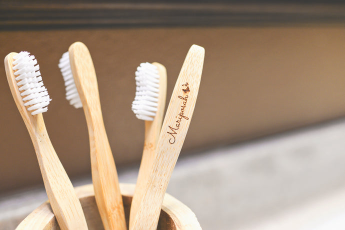 Bamboo Toothbrushes 4pk -Sustainable, Natural, Ecofriendly, Biodegradable, Organic, Vegan -Mariposah