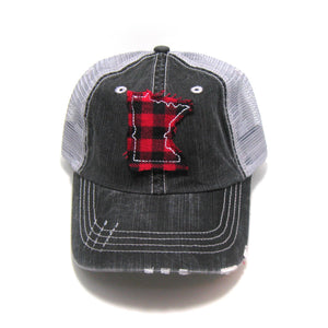 Gracie Designs - Mini Check Fabric State - Distressed Trucker Hat - Red