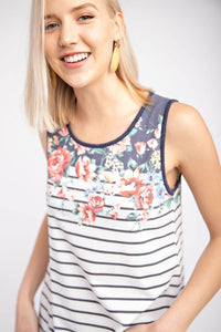 STRIPED FLORAL TANK TOP