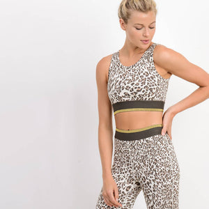 Snow Jaguar Cutout Back Sports Bra