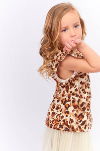 12PM - TA0106-KIDS LEOPARD FLUTTER SLEEVE TOP