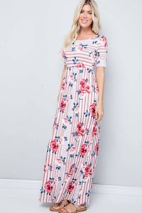 Mauve Stripe Floral Maxi Dress