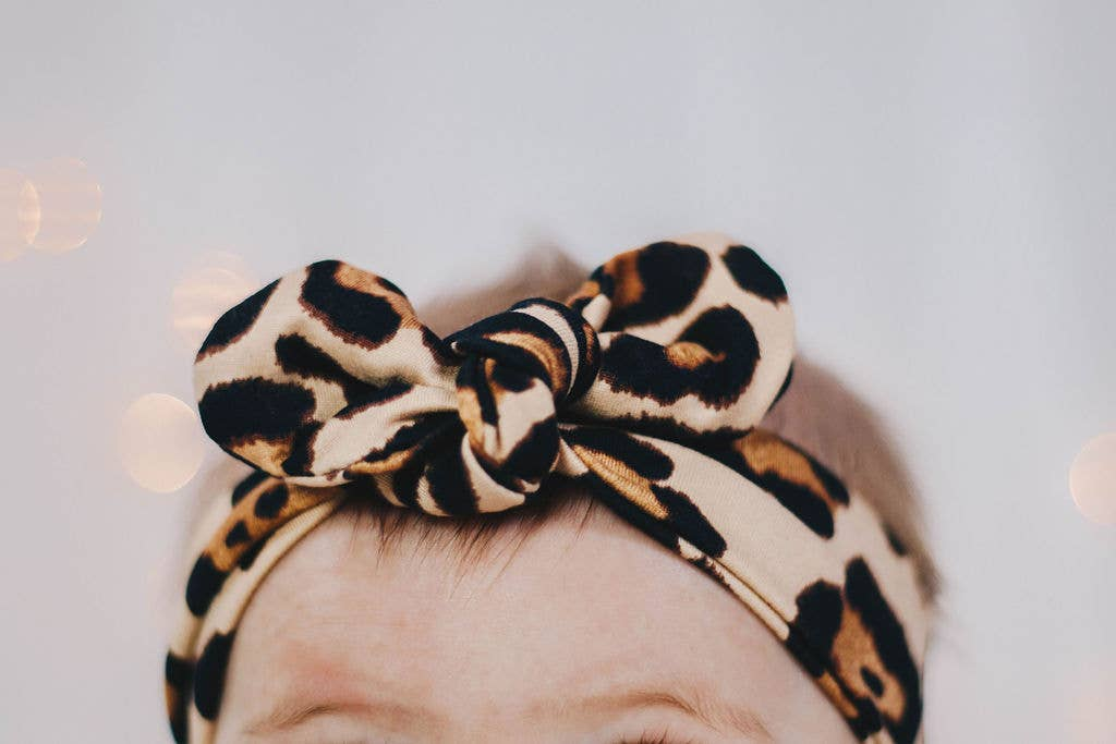 Jena Bug Baby Boutique - Knot Bow Headband - Latte Cheetah