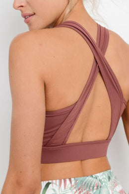 Dark Rust X-Strap Sports Bra