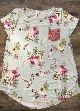 Floral & Feather Top