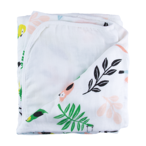 Tropical Bird Triple Layer Bamboo Blanket
