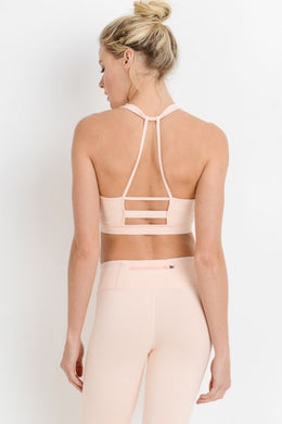 Knotted Peach Outline Racerback Sports Bra