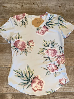Girls Silver Floral V-neck Top