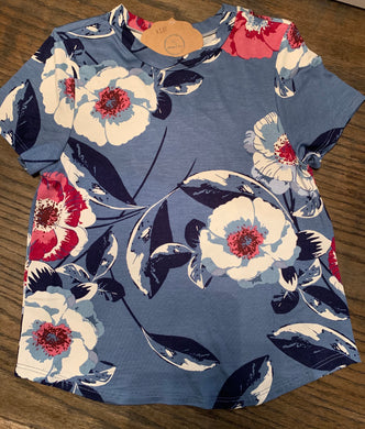 Girls Denim Blue Floral Top