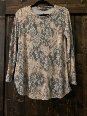 Taupe Floral Lace Top