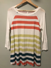 White Striped Baseball Tee