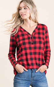 Buffalo Plaid V-neck Top