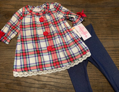 Big Button Plaid Set
