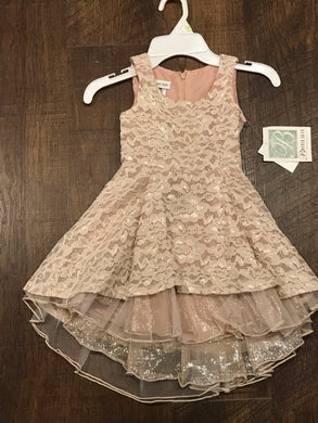 Girls Champagne Lace Hi-Lo Dress