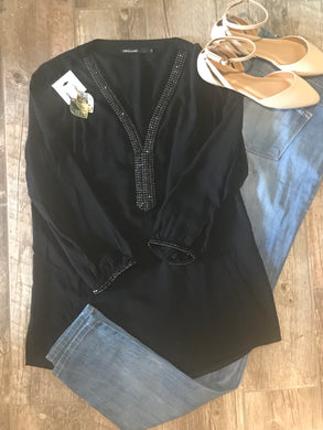 Black Rhinestone Top