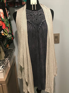 Gray Striped Cardigan
