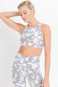 Shadow Poppy Racerback Cutout Sports Bra