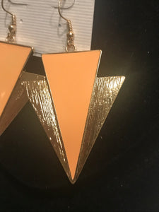 Peach Drop Arrow Earrings